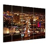"""Bilderdepot24 Keilrahmenbild """"Las Vegas Strip bei Nacht"""" - 180x120 cm 4 teilig - fertig gerahmt, direkt vom Hersteller"""