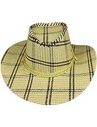 EOZY Homme Chapeau Paille Western Cow-Boy Bonnet Panama Carreau Outdoor