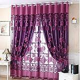 serliy 250cmx100cm Print Floral Voile Tür Vorhang Fenster Zimmer Vorhang Teiler Schal (Purple)