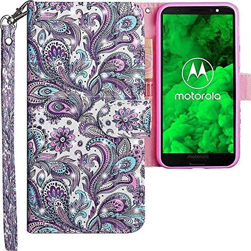 CLM-Tech kompatibel mit Motorola Moto G6 Plus Hülle, Tasche aus Kunstleder, Blume Ornament lila blau, PU Leder-Tasche für Moto G6 Plus Lederhülle