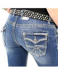 Stylische Damenjeans von Cipo & Baxx Jeans Stretch Kontrastnähte blau