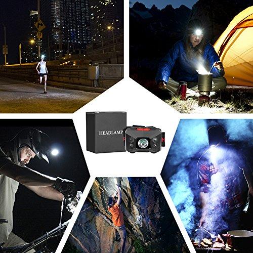 Stirnlampe LED, USB Wiederaufladbare Kopflampe Wasserdicht Leichtgewichts stirnlampen Perfekt fürs Joggen, Laufen Campen Angelnund Radfahren, für Kinder und mehr - 9