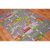 """The Rug House - Tappeto gioco per bambini con Strade della città, Poliammide, Grey, 100cm x 165cm (3'3"""" x 5'5"""")"""