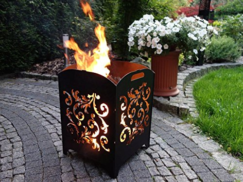Feuerkorb Motiv Stahl Feuersäule Edelrost Made in Germany *Design Gr. L Blumen