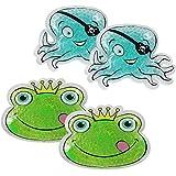 Com-Four Lot de 4chaud/froid Komp ressen pour enfants, avec perles en gel, différents motifs