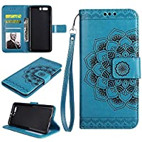 Huawei P10 Plus Wallet Case, EST-EU Retro Mandala Embossing PU Leather Stand Function Protective Covers with Card Slot Holder Wallet Book Case for Huawei P10 Plus, Blue