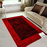 #5: Avioni Rugs Black And Royal Red Carpets For Living Room Actual Feather Touch- Softness Guaranteed-Handloom Made Reversible Light Weight -3 Feet X 5 Feet -Limited period promotional offer