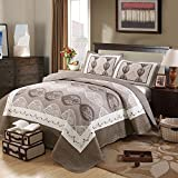 Unimall 3 Pcs 100% Cotton Double King Size Quilted Bedspread Comforter Patchwork Bed Quilt Throw Set