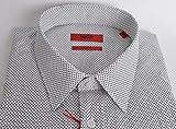 BOSS Hugo Elisha Slim-Fit Herren Business-Hemd in Weiß/Schwarz