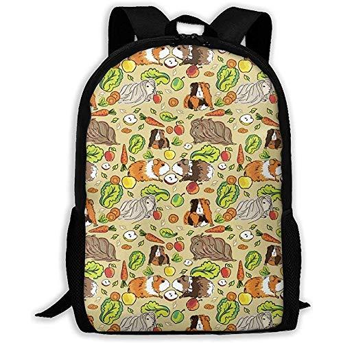 Lässige Schultasche,großer Rucksack Outdoor-Umhängetasche,personalisierter,leichter Rucksack Reisetasche für Männer/Frauen mit Meerschweinchen als Haustierfutter,Schulbuchtaschen,passend für Laptop,ve