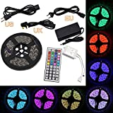 Ryham 5050 300LED 5M RGB Non Waterproof Flexible Lamp Light Strip with 44 Key Remote and 12V 5A Power Supply for Home Kitchen Garden Car Light Decoration