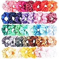 WATINC 40Pcs Silk Satin Scrunchies Set Strong Scrunchy Elastic Hair Bobbles Solid Color Hair bands Ties Soft Hair Ropes Traceless Ponytail Holder Colorful Hair Rings Accessories for Women Girls