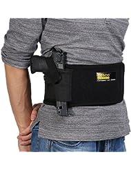 Funda de pistola de banda de vientre con bolsas de revista duales Cierre de hebilla magnética para pistolas, revólveres Tamaño de cintura ajustable hasta 44 , izquierda, derecha extraer, negro