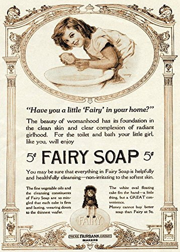 World of Art Vintage Barbershop amp; Salon FAIRY SOAP. HAVE YOU A LITTLE FAIRY IN YOUR HOME? c1914 250gsm Gloss Art Card A3 Reproduction Poster