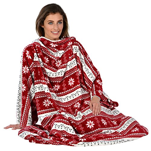 snowflake-patterned-snuggle-blanket-cosy-fleece-with-sleeves-winter-warm-red