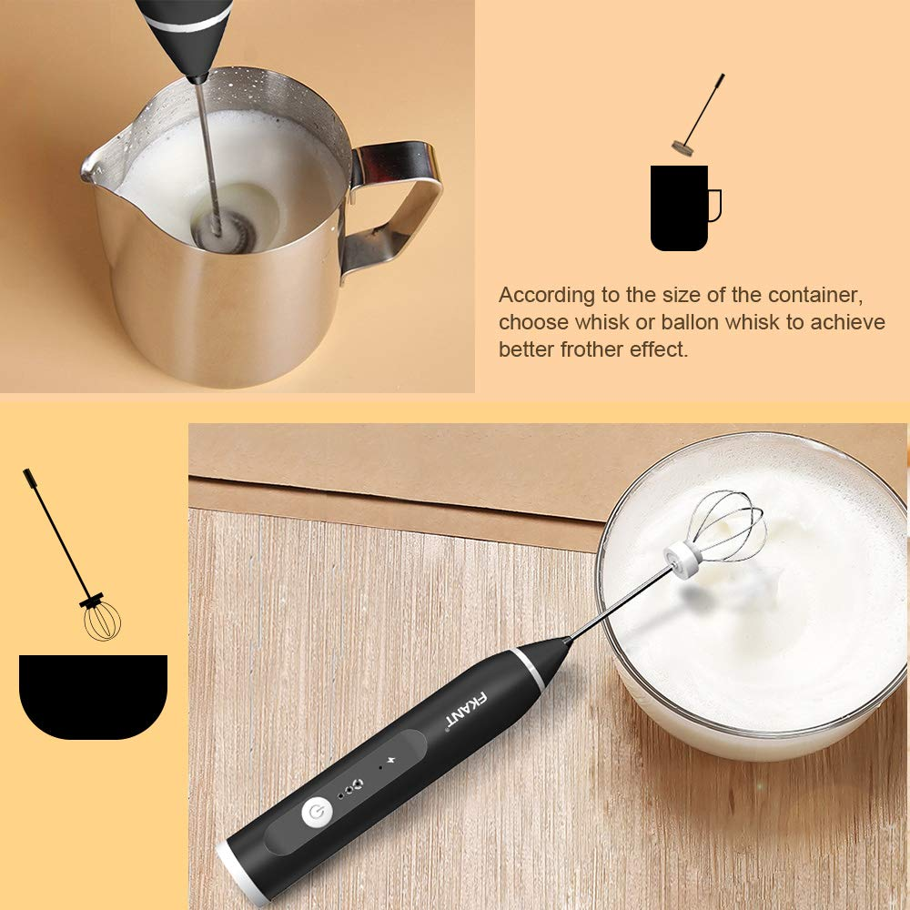 Milk-Frother-FKANT-Coffee-Frother-Electric-Whisk-with-USB-Rechargeable-Three-speed-Force-Adjustment-Milk-Bubbler-2-In-1-Egg-Beater-Perfect-for-Coffee-Latte-Cappuccino-Hot-Chocolate-Beating-Eggs