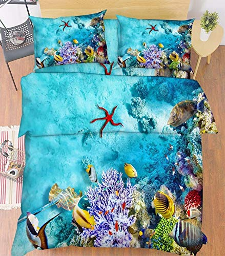 JSDJSUIT Bettwäsche-Set 3D Starfish Sea   Bed Kissenbezüge Quilt Bettbezug Set Single Queen, US Queen 3tlg -