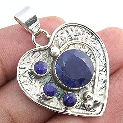 925 Sterling Silver Heart Pendant with Sapphire