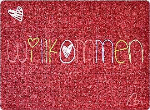 Designer-Fußmatte für Flur, Bad, Innen- und Außen-Bereich | Rutschfester und waschbarer Fuß-Abtreter | Praktischer Fußabstreifer und Schmutzfang-Matte | Willkommen Herz 50 x 70 cm Bunt-Rot | (Herz Fuß)