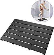 Bath Mat for Bathroom Luxury Shower - Non-Slip Bamboo Wooden Waterproof Floor Mat for Indoor or Outdoor Use (Black)