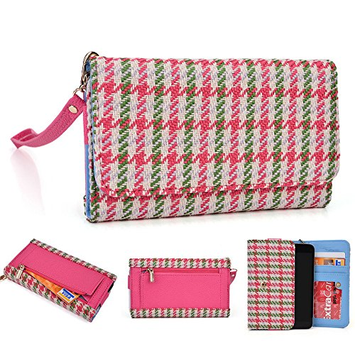 Kroo Housse Wallet Wristlet Case pour Samsung Galaxy Exhibit/Trend Lite/S Duos 2 Mint Blue and White Pink Houndstooth and Magenta