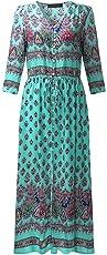 Women Summer Bohemian Tunic Floral Party Beach Long Maxi Dress Sundress Size 4XL (Green)