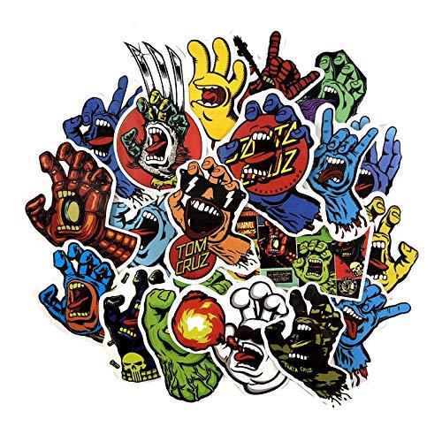 Inveroo 19 Pcs/Set Klassiker Santa Cruz Graffiti Aufkleber Creme Hand Für Laptop Gepäck Auto Skateboard Pegatinas PVC wasserdichte Aufkleber