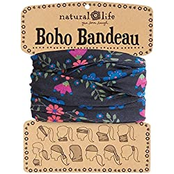 Natural Life Boho Bandeau negro y rosa diseño de hiedra
