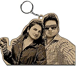 Incredible Gifts India Wooden Personalized Photo Key Ring (Brown, KRG004)