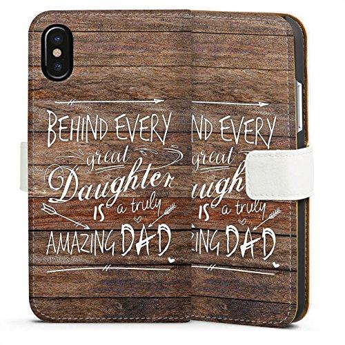 Apple iPhone X Silikon Hülle Case Schutzhülle Vatertag Spruch Dad Sideflip Tasche weiß