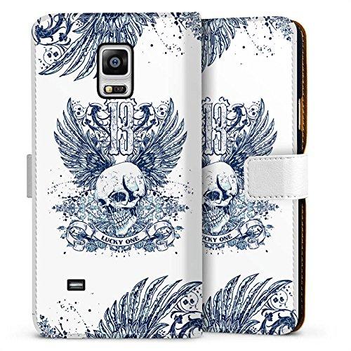 DeinDesign Samsung Galaxy Note 4 Tasche Leder Flip Case Hülle Skull Totenkopf Tattoo
