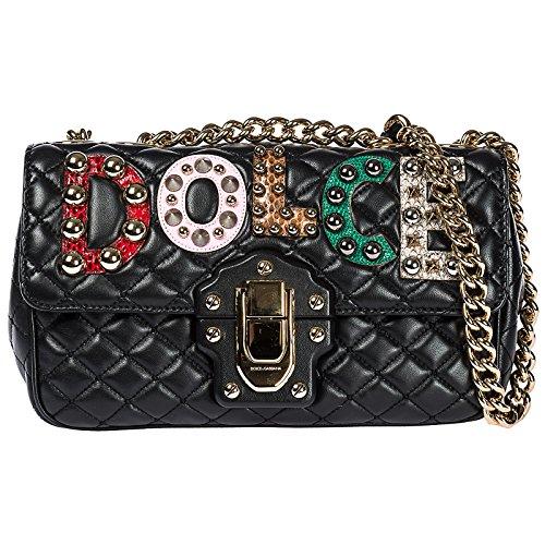 Dolce & Gabbana Schultertasche Leder Damen Tasche Umhängetasche Bag lucia Schwarz