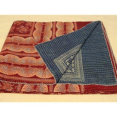 Tribal Asian Textiles-Piumone copriletto Copriletto Kantha, fatto a mano, Coperta in cotone