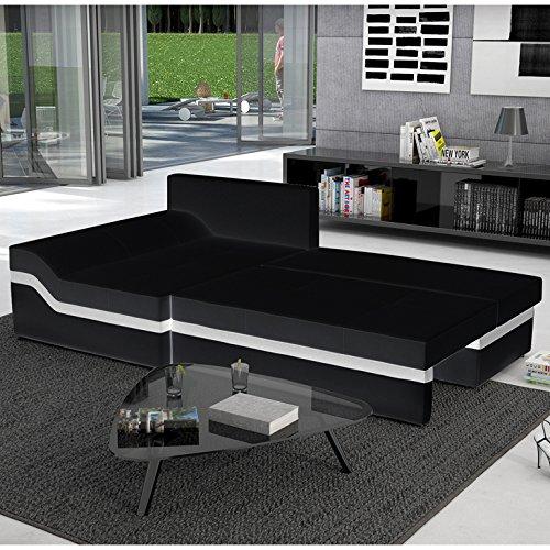 Polster-Ecke mit Schlaffunktion schwarz / weiß 235x133 cm L-Form | Nodobi-L | Sofa-Garnitur aus Kunstleder mit Recamiere links | Eck-Couch ausziehbar für Wohnzimmer schwarz / weiss 235 x 133cm - 3