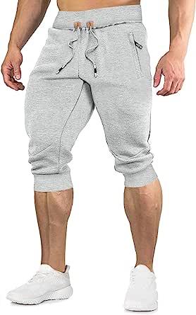EKLENTSON Mens Shorts Casual Cotton 3/4 Joggers Capri Pants Summer Sweatpants Gym Running Long Shorts with Zip Pocket