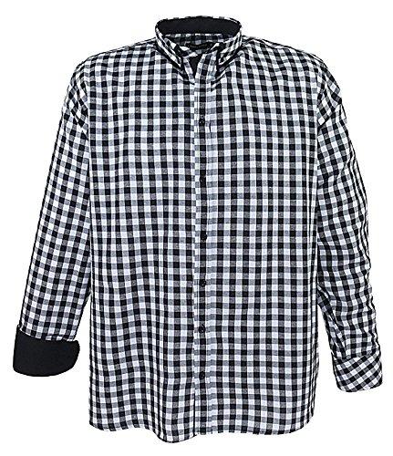 Übergrössen !!! Schickes Herrenhemd LAVECCHIA LV-2004 2 Farben mit Doppelkragen Schwarz/Weiß