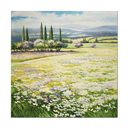 Sept Murale Arts 100% Peint à la Main Peinture à l'huile Moderne Art Mural Paysage Illustrations tendue Cadre Home Decor (81,3 x 81,3 cm, Blanc Fleur de Toscane Field)
