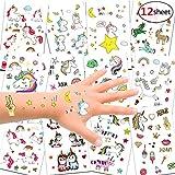 Konsait 300pcs Unicornio Tatuajes temporales Falso Tatuajes Pegatinas para niños niñas Fiestas Infantiles Unicornio cumpleaños de niños Regalo piñata