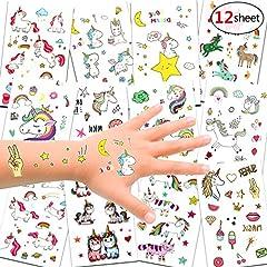 Idea Regalo - Konsait Unicorno Tatuaggi temporanei per Bambini, Tatuaggi Finti Temporanei Adesivi Unicorno, Fata, Cuore, Stella su 300 Motivi, Regalo per Festa di Compleanno o Bomboniera per Le Ragazze I Bambine