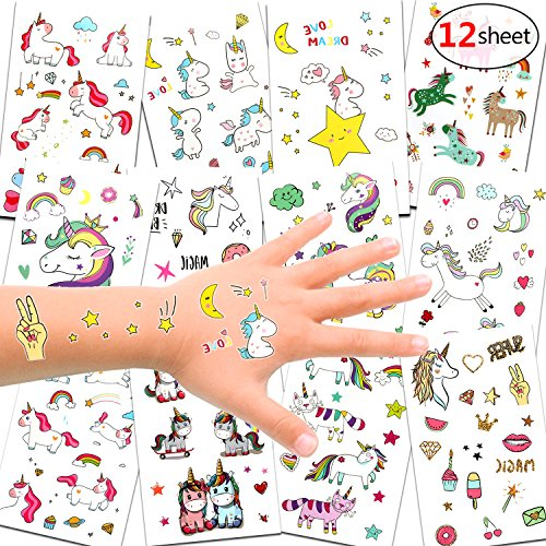 oos Set, Einhorn & Regenbogen temporäre Tattoos Kinder Aufkleber Sticker für Mädchen Kindergeburtstag Mitgebsel Einhorn Party Über 300 Tattoos ()