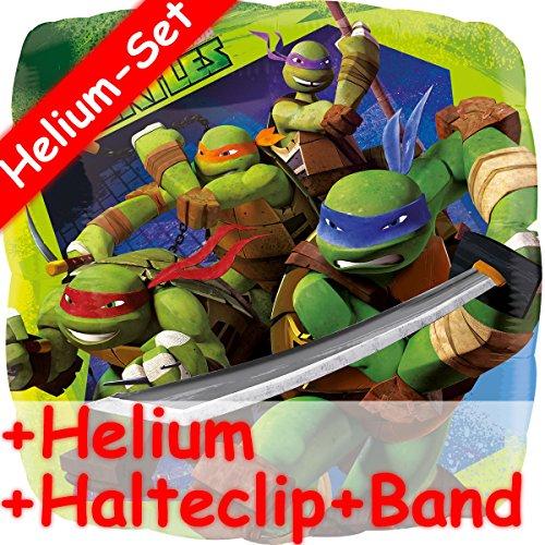 Folienballon Set * TEENAGE MUTANT NINJA TURTLES + HELIUM FÜLLUNG + HALTE CLIP + BAND * // Aufgeblasen mit Ballongas // Kindergeburtstag Deko Geburtstag Folien Ballon Luftballon