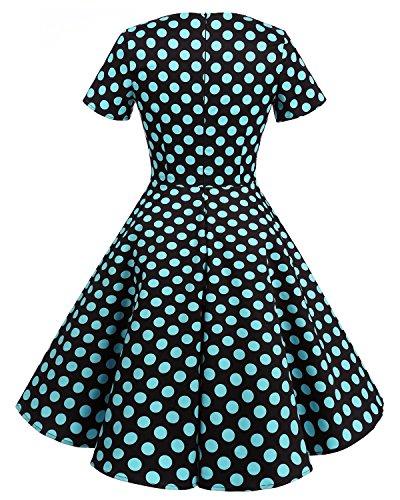 Bridesmay 1950's Rockabilly Damen Retro Vintage Cocktailkleid kurzarm knielang Partykleider Black Blue Dot