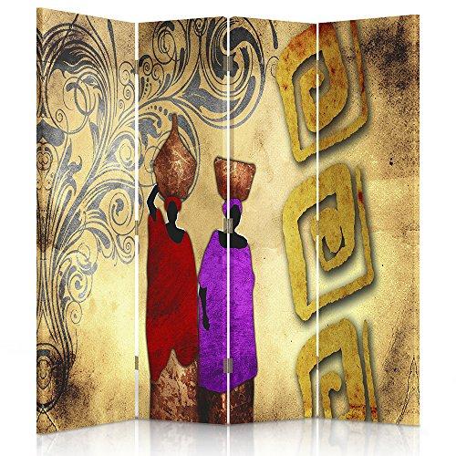 Feeby Frames. Raumteiler, Ggedruckten aufCanvas, Leinwand Wandschirme, dekorative Trennwand, Paravent beidseitig, 4 teilig (145x180 cm), ABSTRAKTION, Frauen, Afrika, Muster, VOLLFARBE