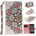 Huawei P8 Lite Case,Huawei P8 Lite Cover,Wallet Case for Huawei P8 Lite,Cozy Hut Fashion Beautiful Art Painted Pattern Flip PU Leather Fold Wallet Pouch Case Premium Leather Wallet Flip Case with Stand Credit Card ID Holders Case Cover for Huawei P8 Lite