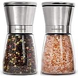 RANSENERS Salz und Pfeffermühle 2er Set mit verstellbarem Keramikmahlwerk,  Edle Salzmühle & Gewürzmühle aus hochwertigem Edelstahl und Glas, Geeignet für elegante Restaurants und Küchen