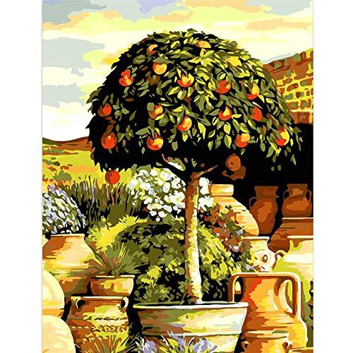 Wzzpsd dipingere con numeri pittura vasi da fiori alberi del centro commerciale nel cortile paesaggio living room art fai da te unico regalo moderno stile arredamento per la casa