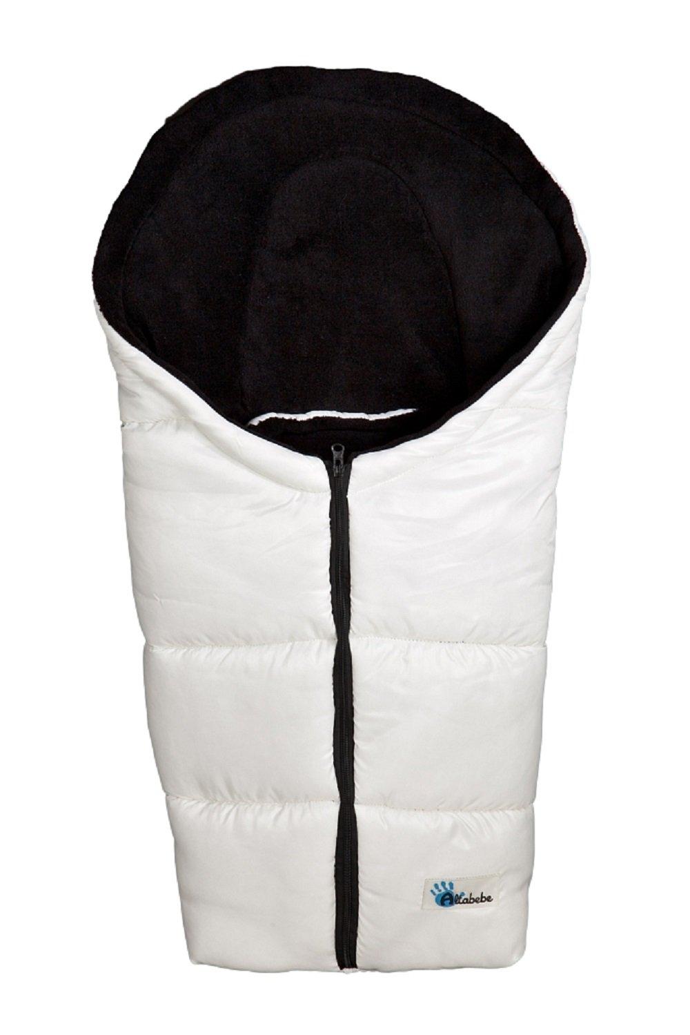 AltaBeBe, Sacco termico invernale per seggiolino da auto, Bianco (offwhite - schwarz)
