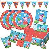 Folat 54-Teiliges Party-Set Peppa Wutz - Pig - Teller Becher Servietten Einladungen Wimpelkette Partytüten für 8 Kinder