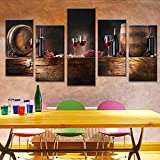 #6: PPD Multiple frames Split Painting on 5 mm White Sun board. Wine, Barrels, Bottles, and Grapes. Panels wall art - 5 Frames Wall Decor. Ready to hang (Total size: 40 x 80 inch) by Paper Plane Design