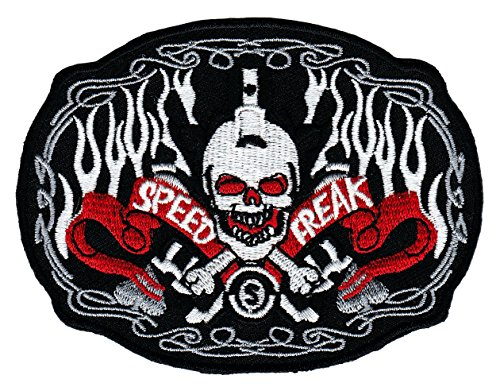 Speed Freak Biker Aufnäher Bügelbild Aufbügler Iron on Patches Applikation Totenkopf Skull Tattoo Rock